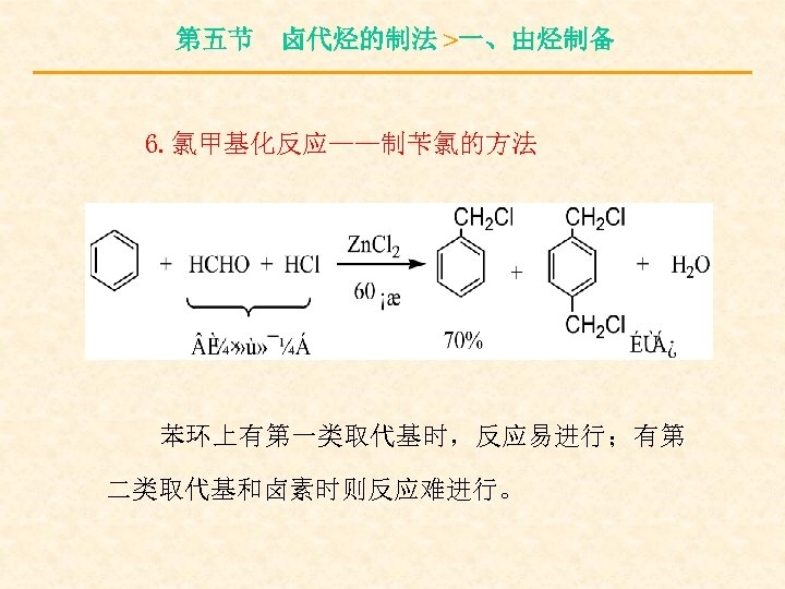 第五节 卤代烃的制法 >一、由烃制备 6. 氯甲基化反应——制苄氯的方法 苯环上有第一类取代基时,反应易进行;有第 二类取代基和卤素时则反应难进行。