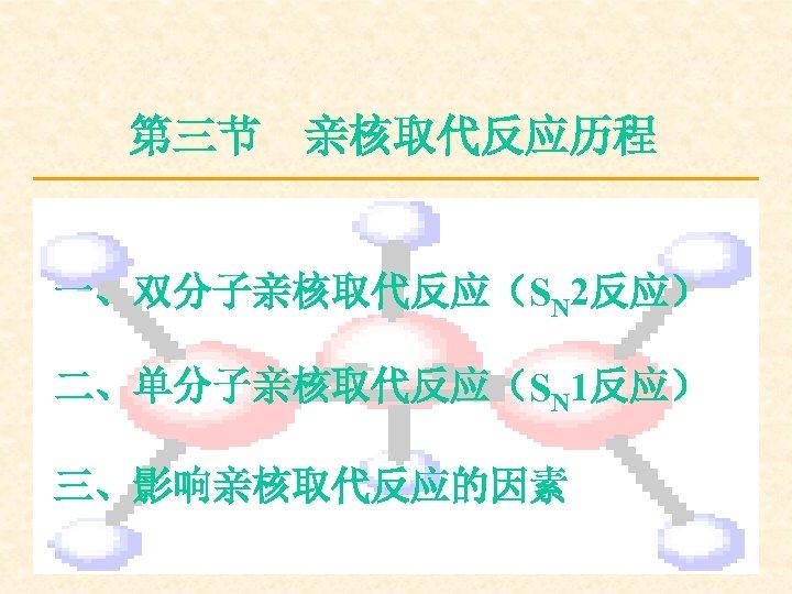第三节 亲核取代反应历程 一、双分子亲核取代反应(SN 2反应) 二、单分子亲核取代反应(SN 1反应) 三、影响亲核取代反应的因素