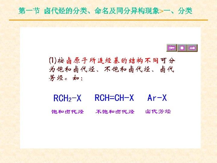 第一节 卤代烃的分类、命名及同分异构现象>一、分类
