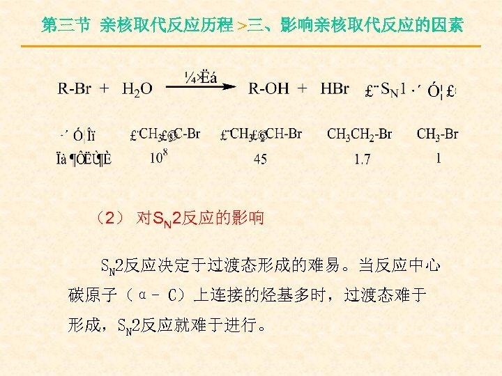 第三节 亲核取代反应历程 >三、影响亲核取代反应的因素 (2) 对SN 2反应的影响 SN 2反应决定于过渡态形成的难易。当反应中心 碳原子(α- C)上连接的烃基多时,过渡态难于 形成,SN 2反应就难于进行。