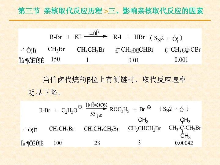 第三节 亲核取代反应历程 >三、影响亲核取代反应的因素 当伯卤代烷的β位上有侧链时,取代反应速率 明显下降。
