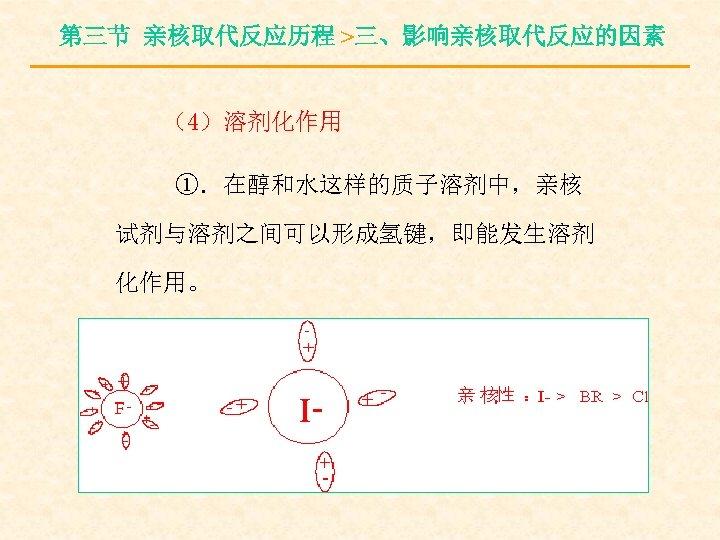 第三节 亲核取代反应历程 >三、影响亲核取代反应的因素 (4)溶剂化作用 ①.在醇和水这样的质子溶剂中,亲核 试剂与溶剂之间可以形成氢键,即能发生溶剂 化作用。