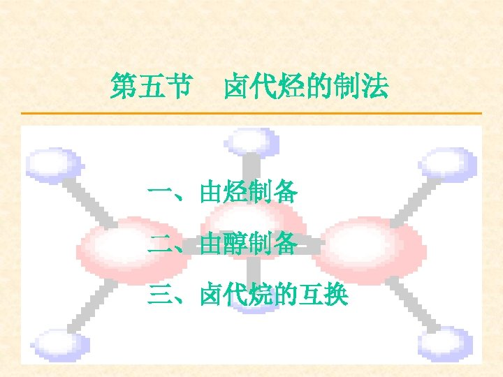 第五节 卤代烃的制法 一、由烃制备 二、由醇制备 三、卤代烷的互换
