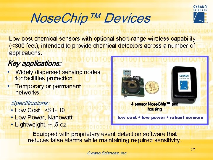 Nose. Chip™ Devices Low cost chemical sensors with optional short-range wireless capability (<300 feet),