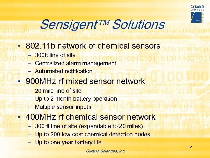 Sensigent Solutions • 802. 11 b network of chemical sensors – 300 ft line