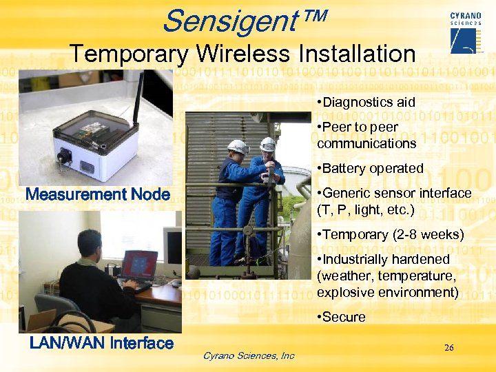 Sensigent™ Temporary Wireless Installation • Diagnostics aid • Peer to peer communications • Battery