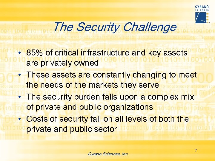 The Security Challenge • 85% of critical infrastructure and key assets are privately owned