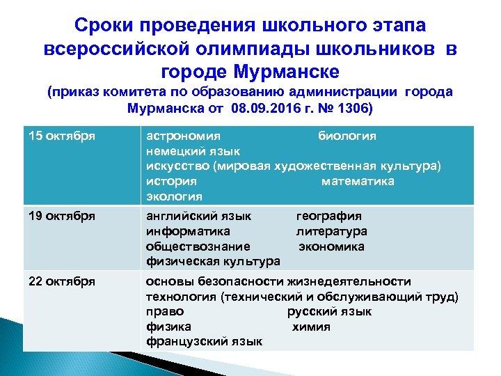 Сроки проведения школьного этапа всероссийской олимпиады школьников в городе Мурманске (приказ комитета по образованию