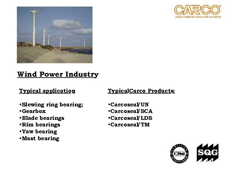 Wind Power Industry Typical application : Typical. Carco Products: • Slewing ring bearing; •