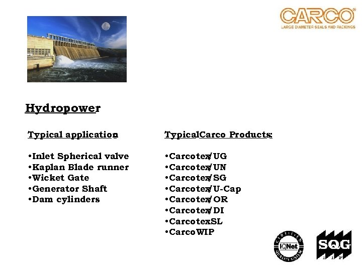 Hydropower Typical application : Typical. Carco Products: • Inlet Spherical valve • Kaplan Blade