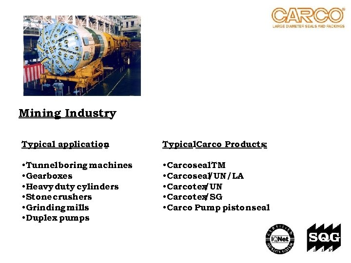 Mining Industry Typical application : Typical. Carco Products: • Tunnel boring machines • Gearboxes