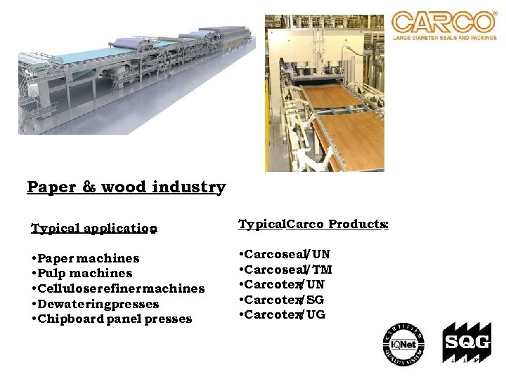 Paper & wood industry Typical application : Typical. Carco Products: • Paper machines •