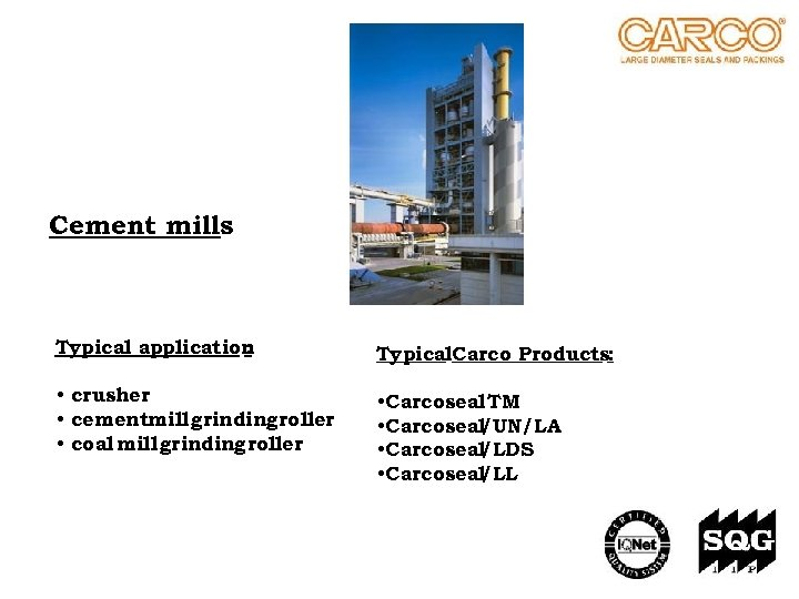 Cement mills Typical application : Typical. Carco Products: • crusher • cementmill grinding roller