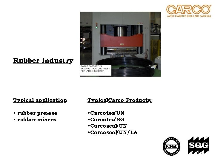 Rubber industry Typical application : Typical. Carco Products: • rubber presses • rubber mixers