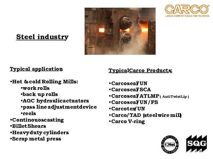 Steel industry Typical application : Typical. Carco Products: • Hot & cold Rolling Mills: