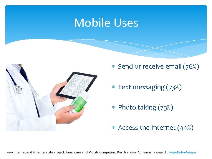 Mobile Uses Send or receive email (76%) Text messaging (73%) Photo taking (73%) Access