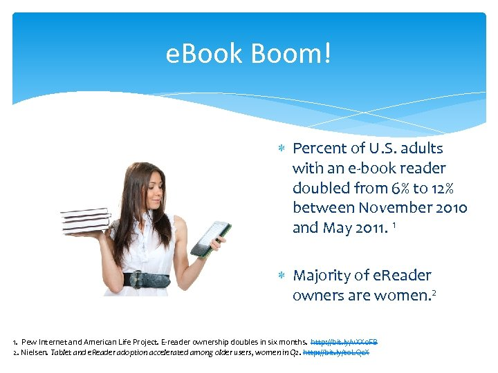 e. Book Boom! Percent of U. S. adults with an e-book reader doubled from