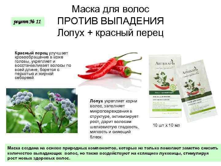 рецепт № 11 Маска для волос ПРОТИВ ВЫПАДЕНИЯ Лопух + красный перец Красный перец