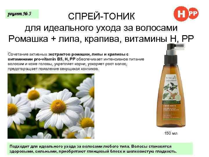 СПРЕЙ-ТОНИК для идеального ухода за волосами Ромашка + липа, крапива, витамины Н, РР рецепт