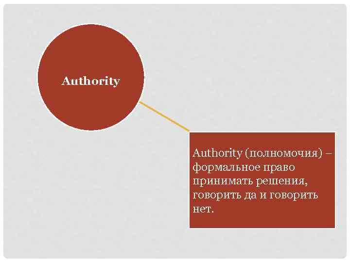 Authority (полномочия) – формальное право принимать решения, говорить да и говорить нет.