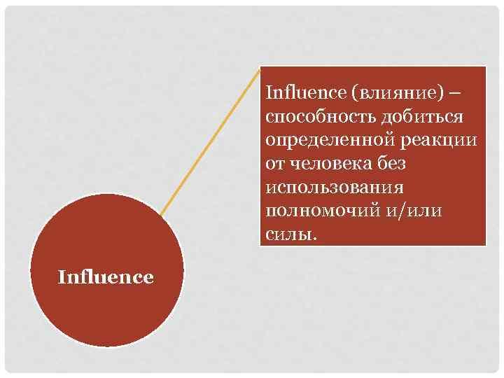 Influence (влияние) – способность добиться определенной реакции от человека без использования полномочий и/или силы.