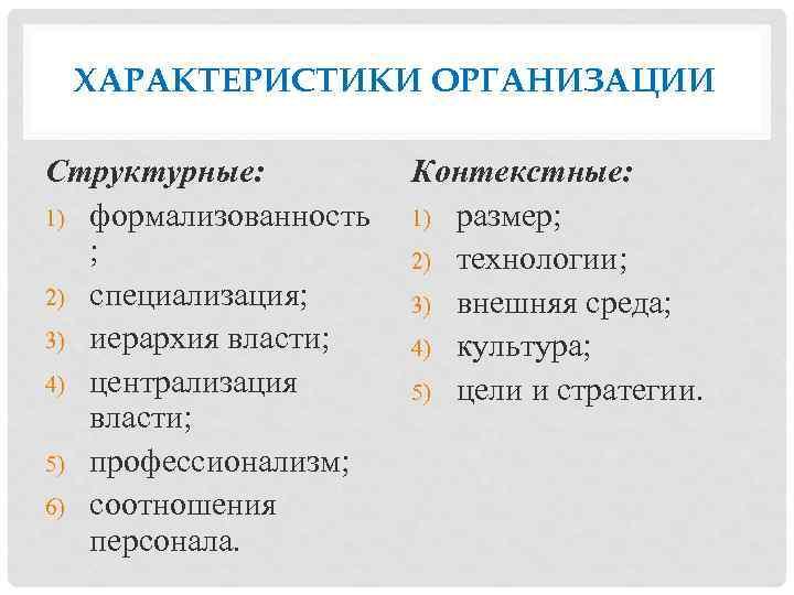ХАРАКТЕРИСТИКИ ОРГАНИЗАЦИИ Структурные: 1) формализованность ; 2) специализация; 3) иерархия власти; 4) централизация власти;