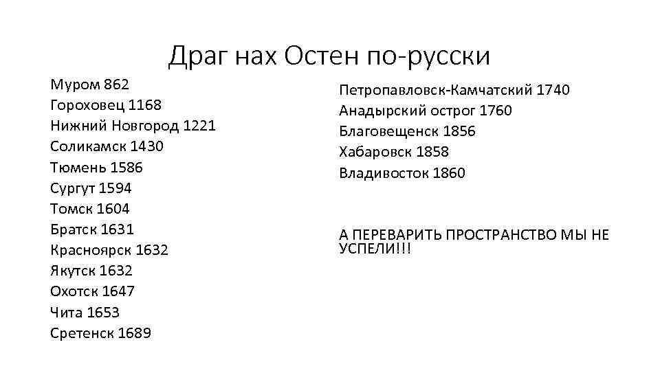 Драг нах Остен по-русски Муром 862 Гороховец 1168 Нижний Новгород 1221 Соликамск 1430 Тюмень