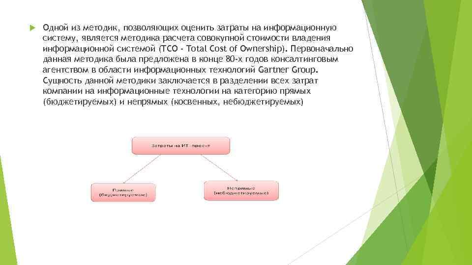 Одной из методик, позволяющих оценить затраты на информационную систему, является методика расчета совокупной