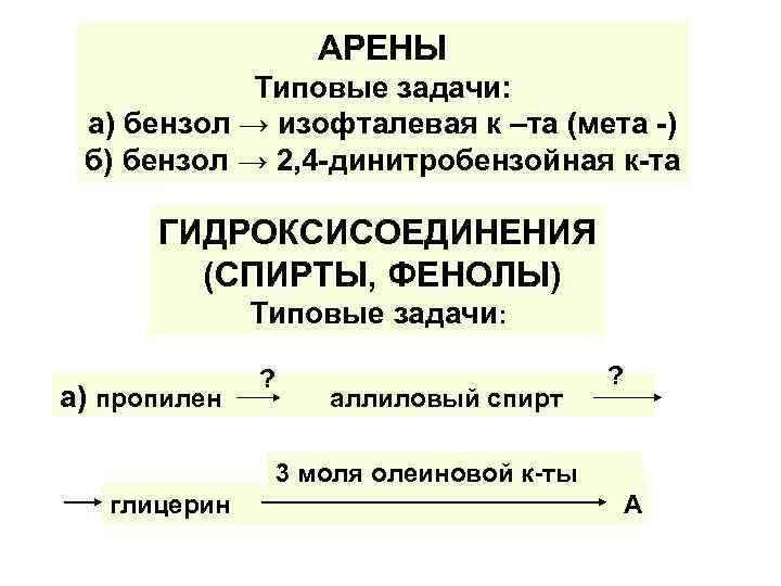 АРЕНЫ Типовые задачи: а) бензол → изофталевая к –та (мета -) б) бензол →