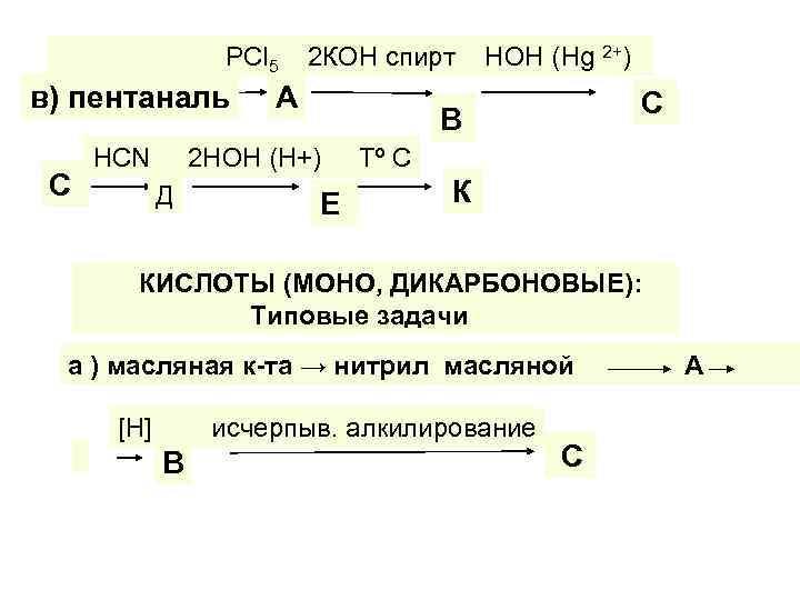 РСl 5 в) пентаналь С НСN 2 КОН спирт А С В 2 НОН