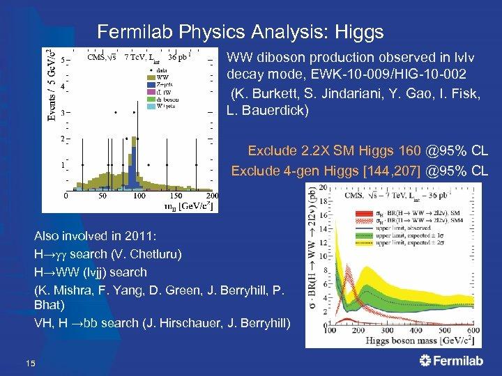 Fermilab Physics Analysis: Higgs WW diboson production observed in lvlv decay mode, EWK-10 -009/HIG-10