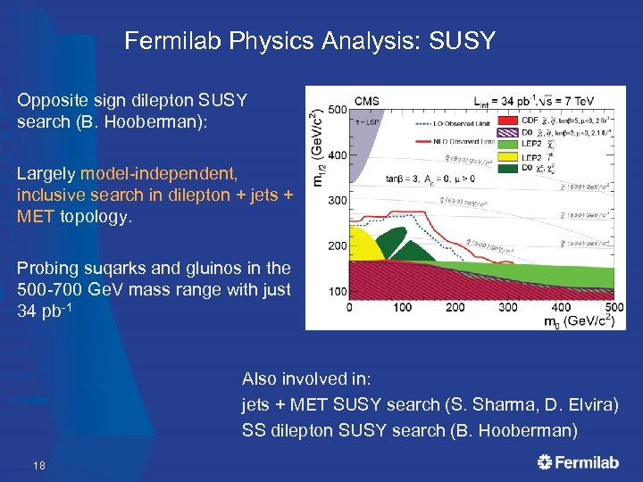 Fermilab Physics Analysis: SUSY Opposite sign dilepton SUSY search (B. Hooberman): Largely model-independent, inclusive