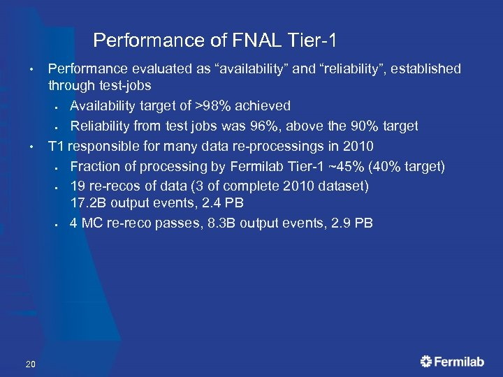 """Performance of FNAL Tier-1 • • 20 Performance evaluated as """"availability"""" and """"reliability"""", established"""