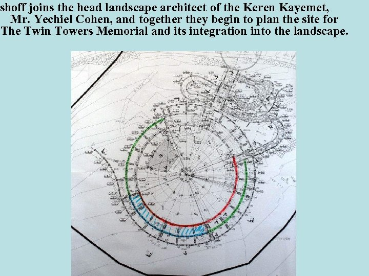 shoff joins the head landscape architect of the Keren Kayemet, Mr. Yechiel Cohen, and