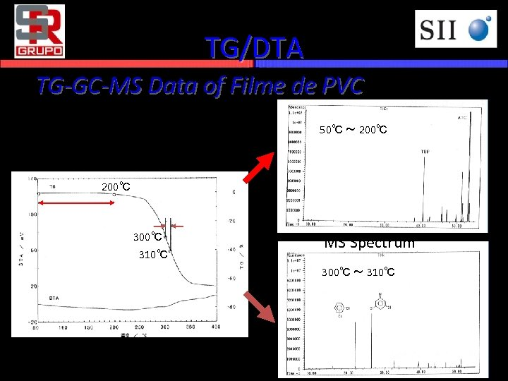 TG/DTA TG-GC-MS Data of Filme de PVC 50℃ ~ 200℃ 300℃ 310℃ MS Spectrum
