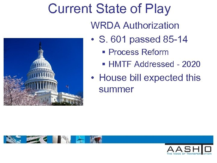 Current State of Play WRDA Authorization • S. 601 passed 85 -14 § Process