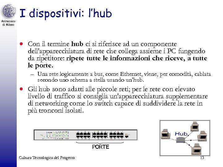 Politecnico di Milano I dispositivi: l'hub · Con il termine hub ci si riferisce