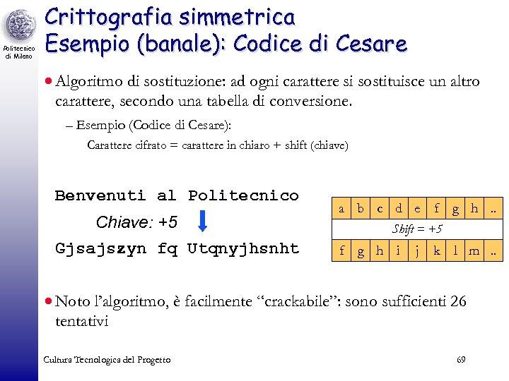 Politecnico di Milano Crittografia simmetrica Esempio (banale): Codice di Cesare · Algoritmo di sostituzione: