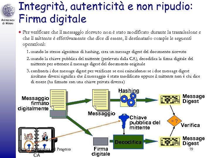 Politecnico di Milano Integrità, autenticità e non ripudio: Firma digitale · Per verificare che
