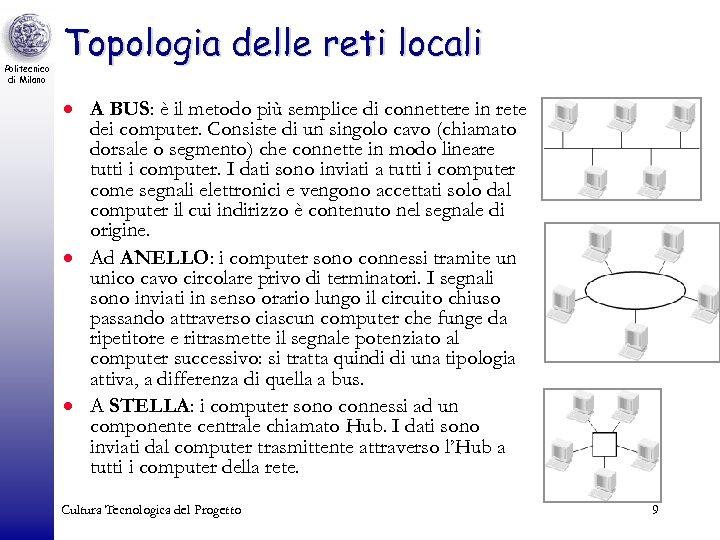 Politecnico di Milano Topologia delle reti locali · A BUS: è il metodo più