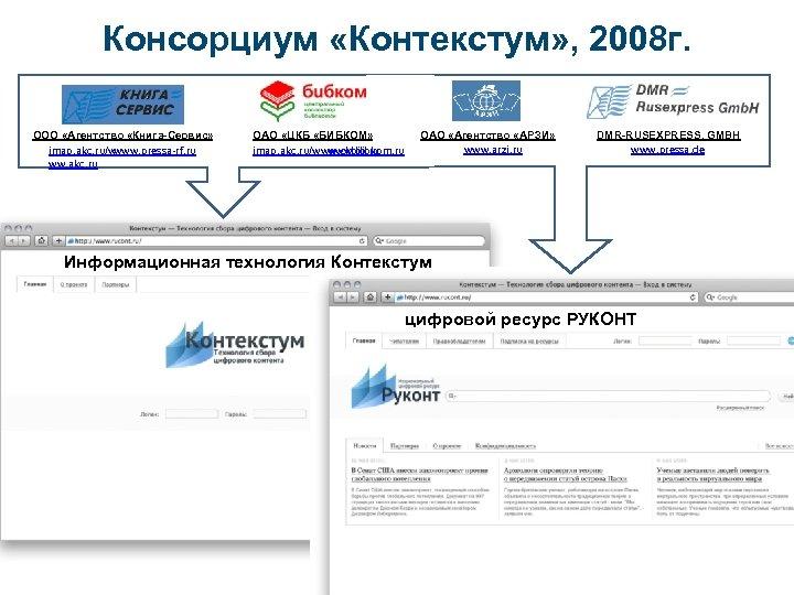 Консорциум «Контекстум» , 2008 г. ООО «Агентство «Книга-Сервис» www. pressa-rf. ru imap. akc. ru/w