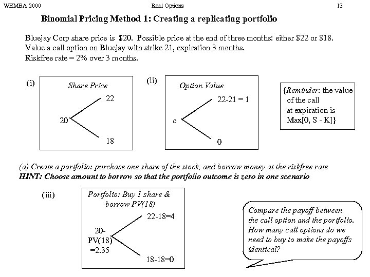 WEMBA 2000 Real Options 13 Binomial Pricing Method 1: Creating a replicating portfolio Bluejay