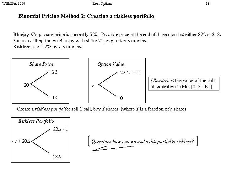 WEMBA 2000 Real Options 18 Binomial Pricing Method 2: Creating a riskless portfolio Bluejay