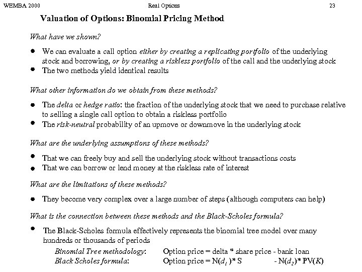 WEMBA 2000 Real Options 23 Valuation of Options: Binomial Pricing Method What have we