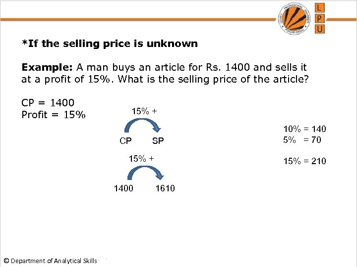 *If the selling price is unknown Example: A man buys an article for Rs.