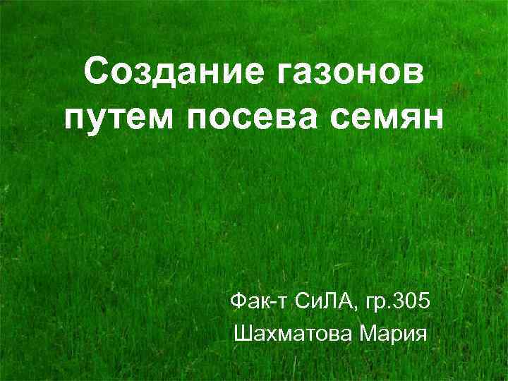 Создание газонов путем посева семян Фак-т Си. ЛА, гр. 305 Шахматова Мария