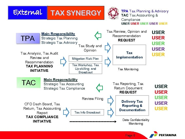 External TAX SYNERGY TPA Tax Planning & Advisory TAC Tax Accounting & Compliance USER