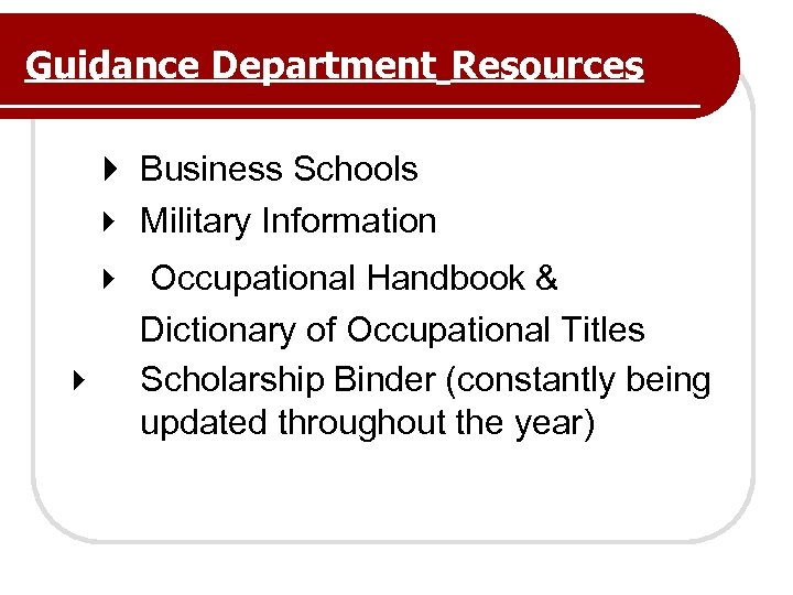 Guidance Department Resources Business Schools Military Information Occupational Handbook & Dictionary of Occupational Titles