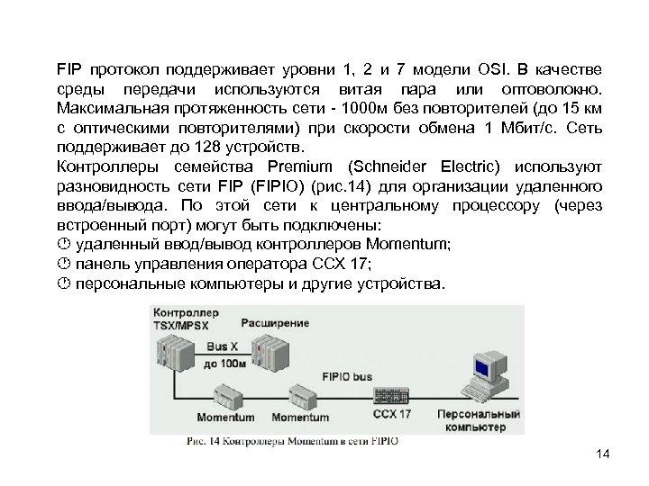 FIP протокол поддерживает уровни 1, 2 и 7 модели OSI. В качестве среды передачи