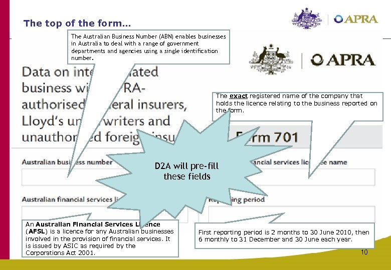 The top of the form… The Australian Business Number (ABN) enables businesses in Australia
